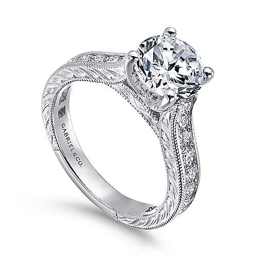 14k White Gold Diamond Straight Pave Channel Engagement Ring with Hand Cut Etching angle 3