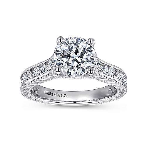 14k White Gold Diamond Straight Pave Channel Engagement Ring with Hand Cut Etching angle 5