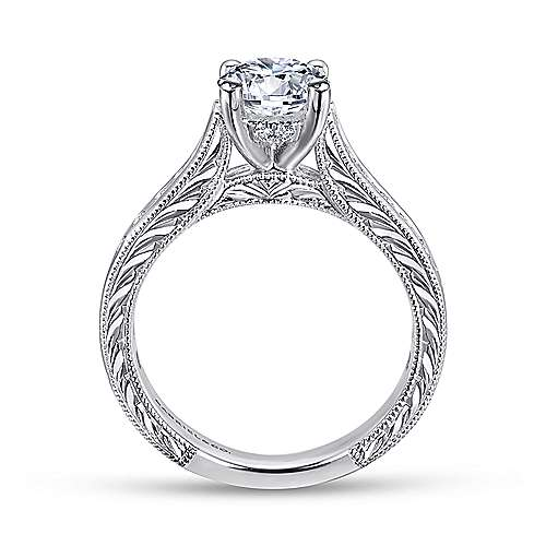 14k White Gold Diamond Straight Pave Channel and Milgrain Engagement Ring angle 2