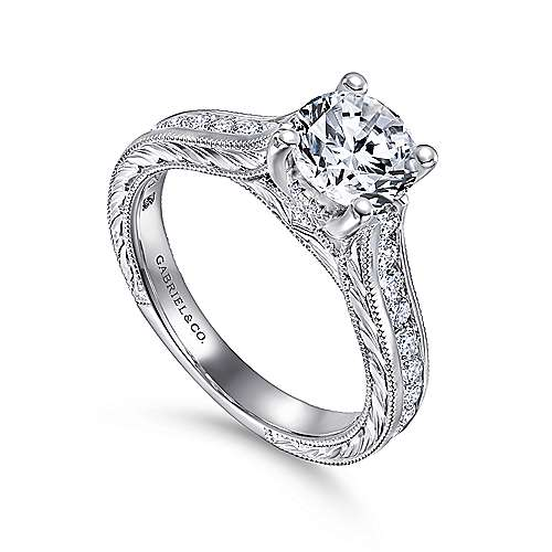 14k White Gold Diamond Straight Pave Channel and Milgrain Engagement Ring angle 3