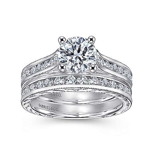 14k White Gold Diamond Straight Pave Channel and Milgrain Engagement Ring angle 4