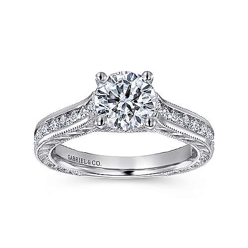 14k White Gold Diamond Straight Pave Channel and Milgrain Engagement Ring angle 5