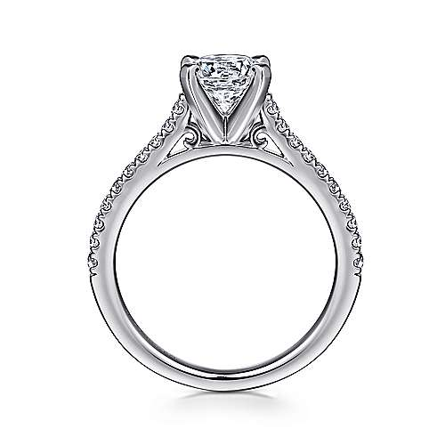 14k White Gold Diamond Straight Pave Engagement Ring with Cathedral Setting angle 2