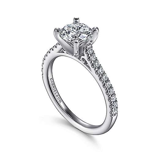 14k White Gold Diamond Straight Pave Engagement Ring with Cathedral Setting angle 3