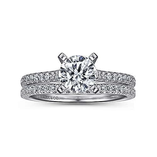 14k White Gold Diamond Straight Pave Engagement Ring with Cathedral Setting angle 4