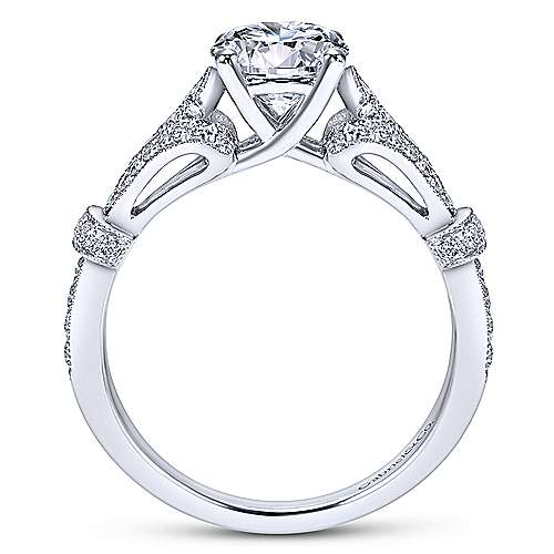 14k White Gold Diamond Straight Pave Filgree Engagement Ring angle 2