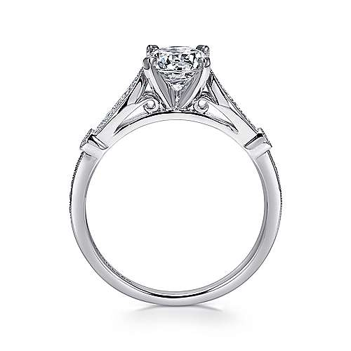 14k White Gold Diamond Straight Petite Channel Engagement Ring with Cathedral Setting angle 2