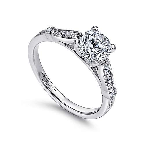 14k White Gold Diamond Straight Petite Channel Engagement Ring with Cathedral Setting angle 3