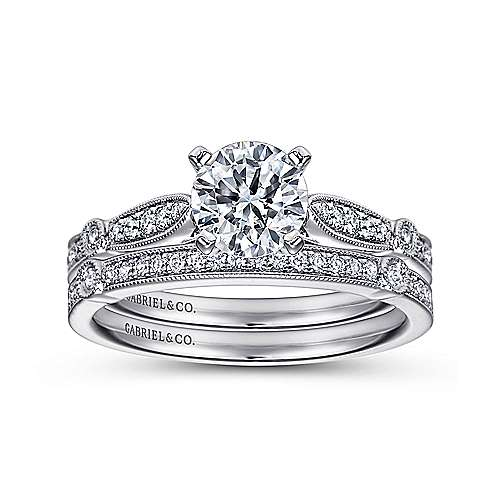 14k White Gold Diamond Straight Petite Channel Engagement Ring with Cathedral Setting angle 4