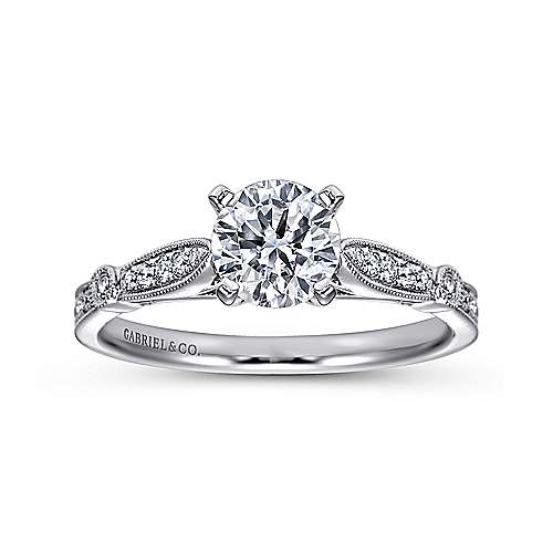 14k White Gold Diamond Straight Petite Channel Engagement Ring with Cathedral Setting angle 5