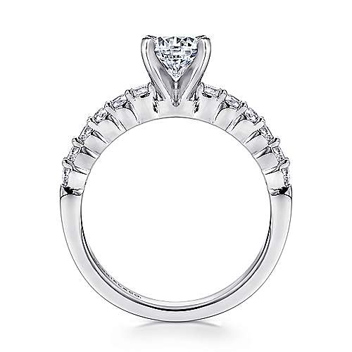14k White Gold Diamond Straight Shared Prong Engagement Ring with Peg Head Setting angle 2