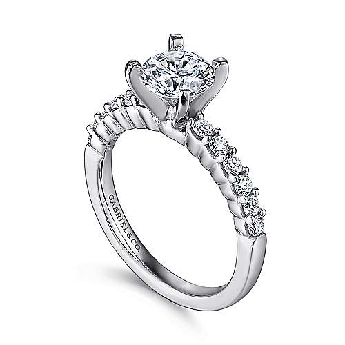 14k White Gold Diamond Straight Shared Prong Engagement Ring with Peg Head Setting angle 3