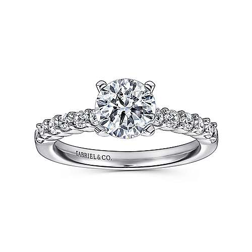 14k White Gold Diamond Straight Shared Prong Engagement Ring with Peg Head Setting angle 5
