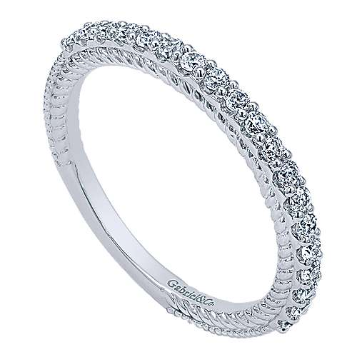14k White Gold Diamond Straight Wedding Band angle 3