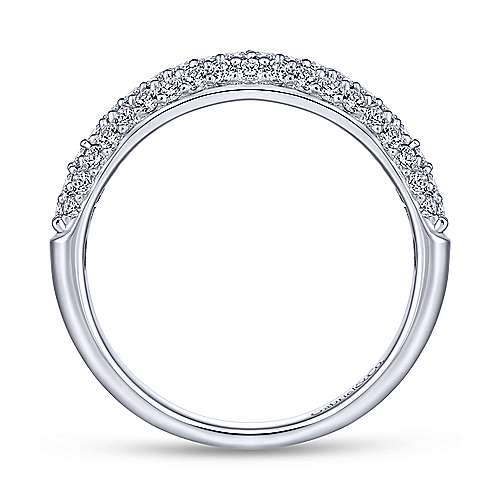 14k White Gold Diamond Straight Wedding Band angle 2