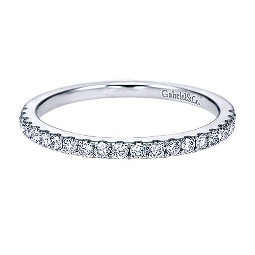 14k White Gold Diamond Straight Wedding Band angle 1