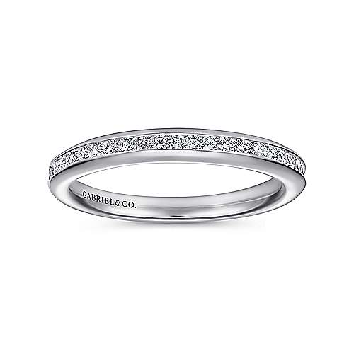 14k White Gold Diamond Straight Wedding Band angle 5
