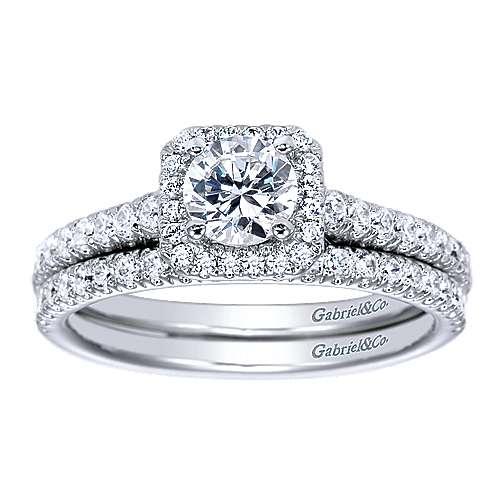 14k White Gold Diamond Straight Wedding Band angle 4