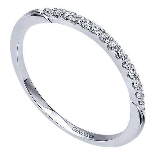 14k White Gold Diamond Straight Wedding Band angle 3