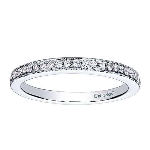 14k White Gold Diamond Straight Wedding Band angle 5