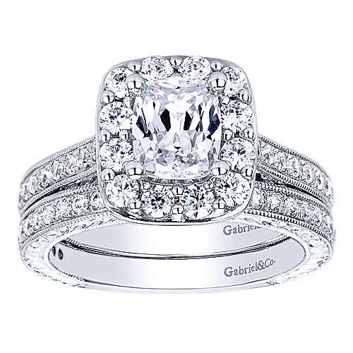 14k White Gold Diamond Straight Wedding Band angle 4