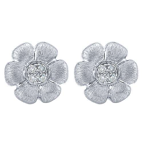 Gabriel - 14k White Gold Floral Stud Earrings