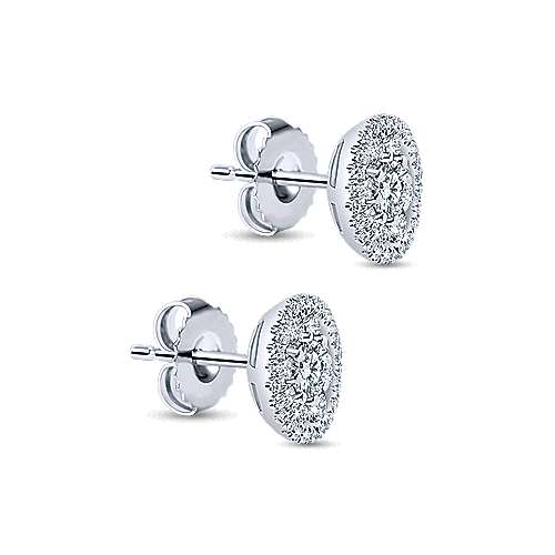 14k White Gold Diamond Stud Earrings angle 2