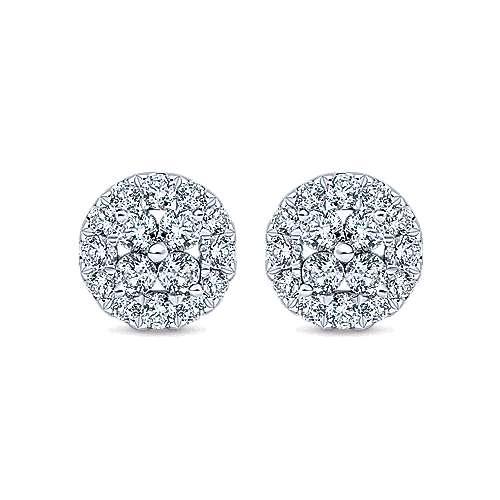Gabriel - 14k White Gold Clustered Diamonds Stud Earrings