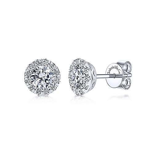 14k White Gold Clustered Diamonds Stud