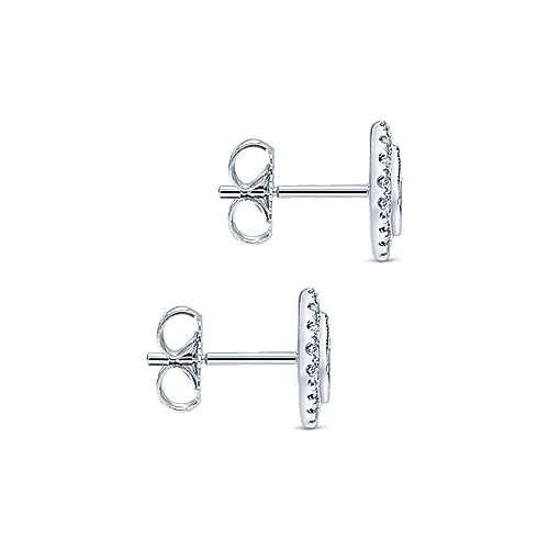 14k White Gold Diamond Stud Earrings angle 3