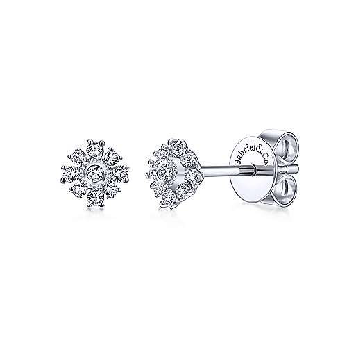 Gabriel - 14k White Gold Floral Stud Earrings