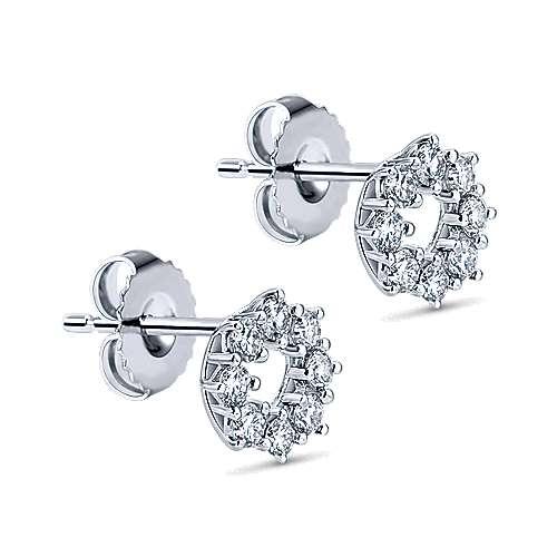 14k White Gold Diamond Stud Earrings angle 2