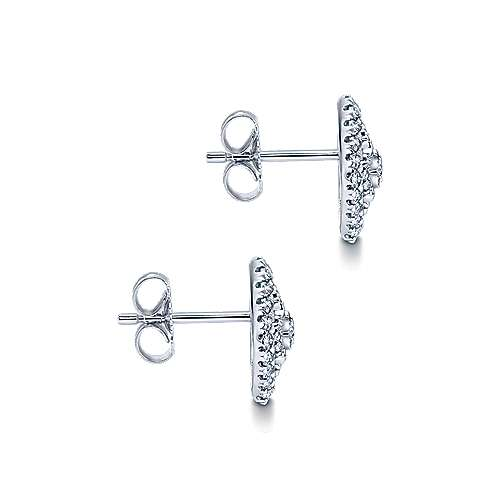 14k White Gold Diamond Stud Earrings angle 3