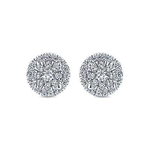 14k White Gold Clustered Diamonds Stud