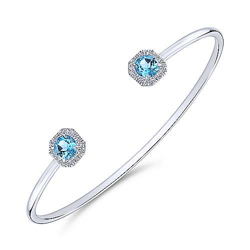 14k White Gold Diamond Swiss Blue Topaz Bangle angle 2