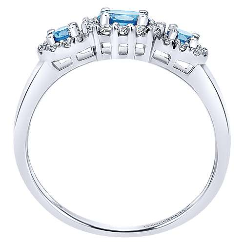 14k White Gold Diamond Swiss Blue Topaz Fashion Ladies