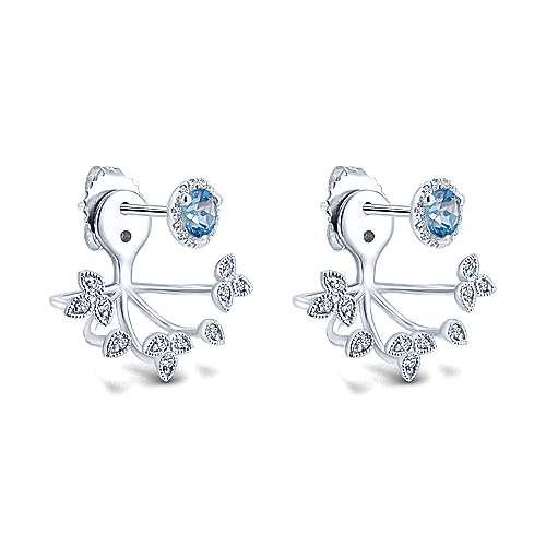 14k White Gold Diamond Swiss Blue Topaz Peek A Boo Earrings angle 2