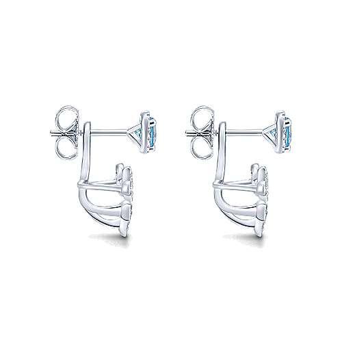 14k White Gold Diamond Swiss Blue Topaz Peek A Boo Earrings angle 3