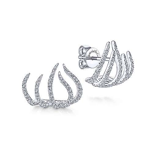 14k White Gold Diamond Tendril Stud Earrings