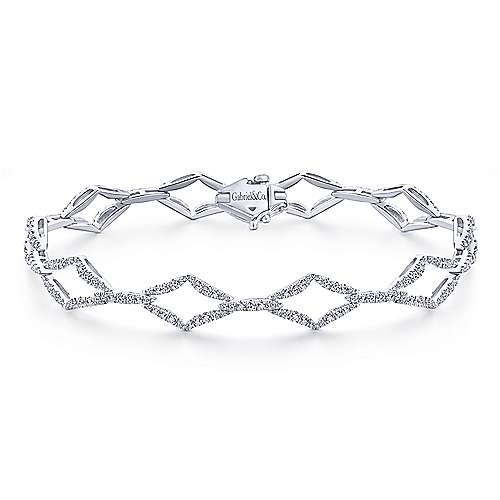 14k White Gold Diamond Tennis Bracelet angle 1