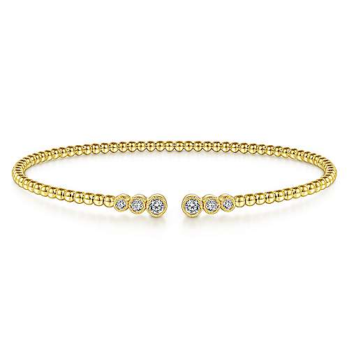 14k White Gold Diamond Tipped Open Bangle Bracelet