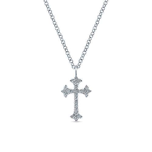 14k White Gold Diamond Trefoil Cross Necklace