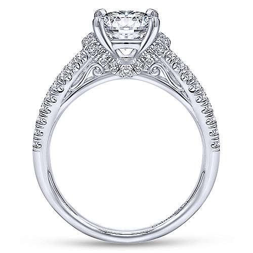 14k White Gold Diamond Twisted Engagement Ring angle 2