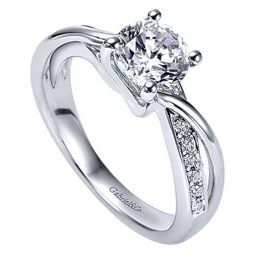 14k White Gold Diamond Twisted Engagement Ring angle 3