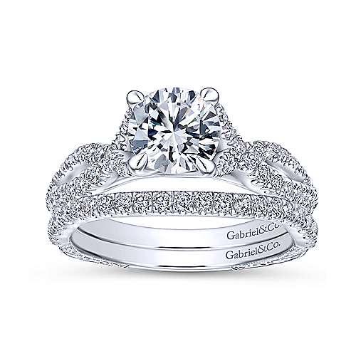 14k White Gold Diamond Twisted Engagement Ring angle 4