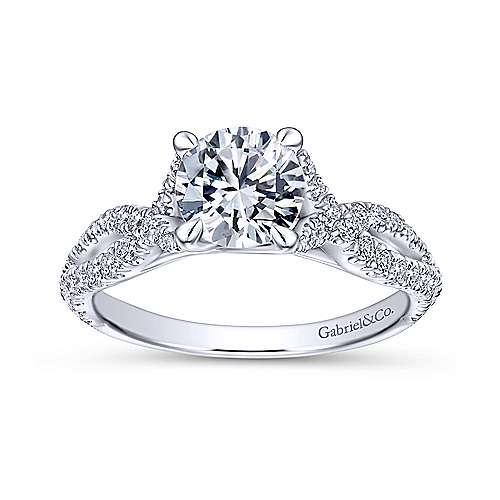 14k White Gold Diamond Twisted Engagement Ring angle 5