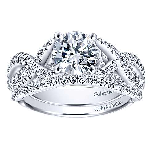 14k White Gold Diamond Twisted Engagement Ring angle 4