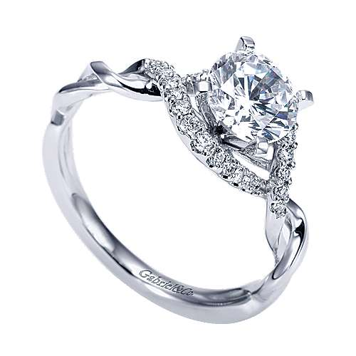 14k White Gold Diamond Twisted Engagement Ring angle 3