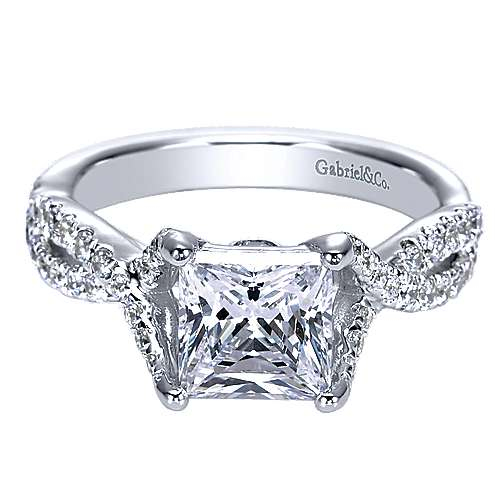 14k White Gold Diamond Twisted Engagement Ring angle 1