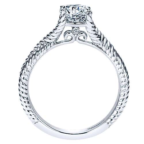14k White Gold Diamond Twisted Engagement Ring angle 2